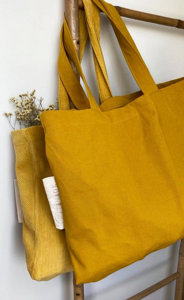 Rima velvet cordoroy tote bag and canvas bag mustard front